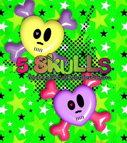 Skulls .png by Loreenitta