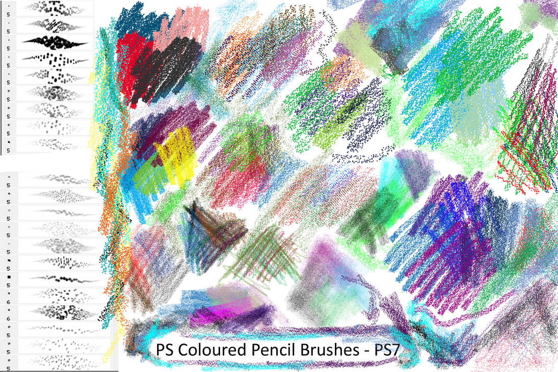 Coloured Pencil Brushes - PS7 by Dark-Zeblock