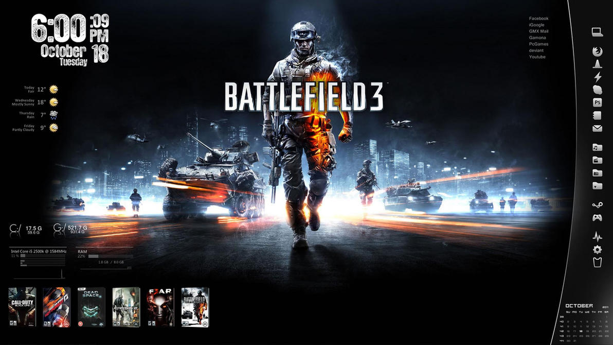 Battlefield 3 - Rainmeter by AikoTakashi