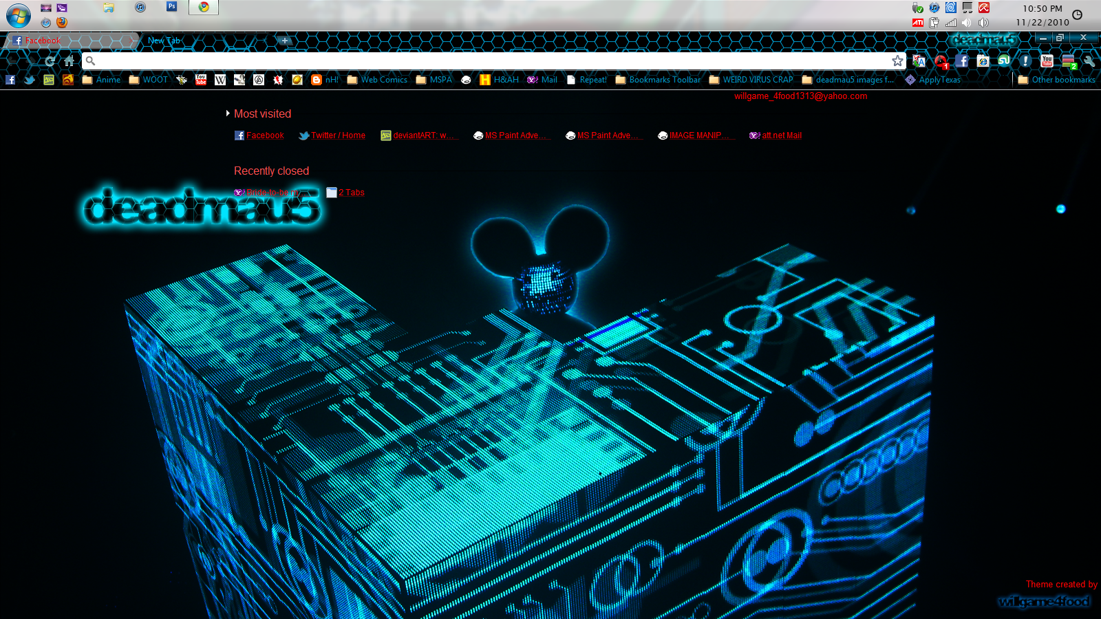 Deadmau5 Chrome Theme 1600 by willgame4food