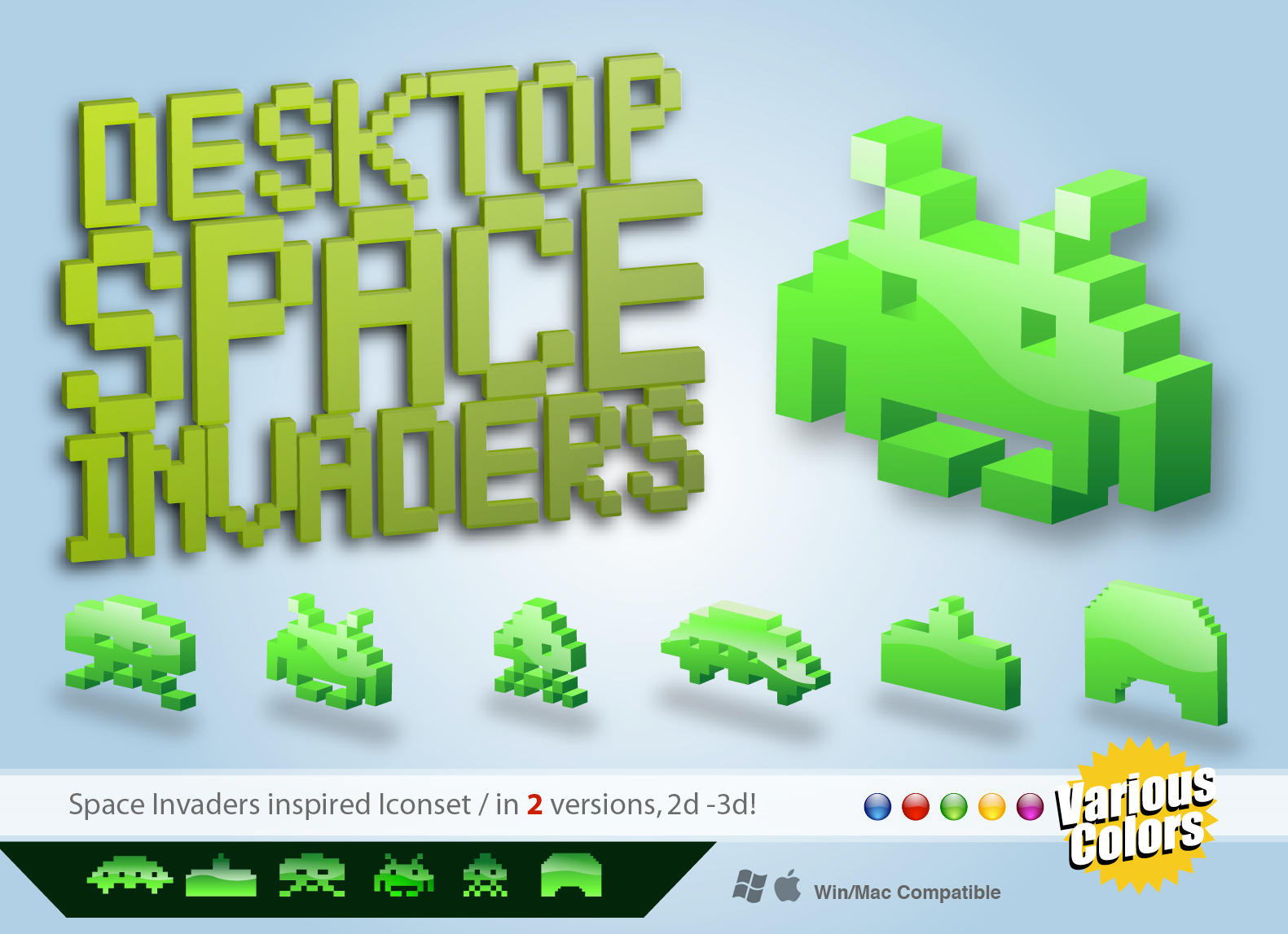 Desktop Space Invaders Iconset by Mawz