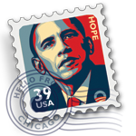 BARACK OBAMA STAMP MAIL ICON by gsang