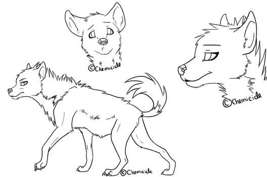 :Free Hyena Line-Art: