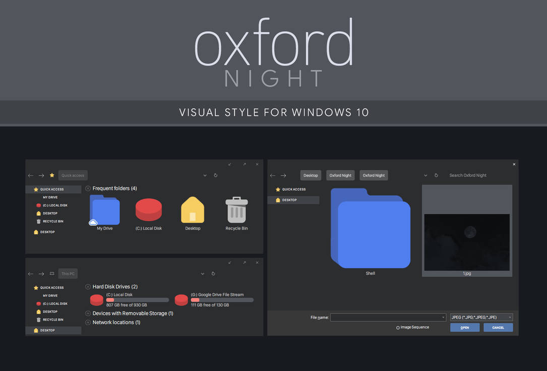 Oxford Night - Windows 10 Visual Style