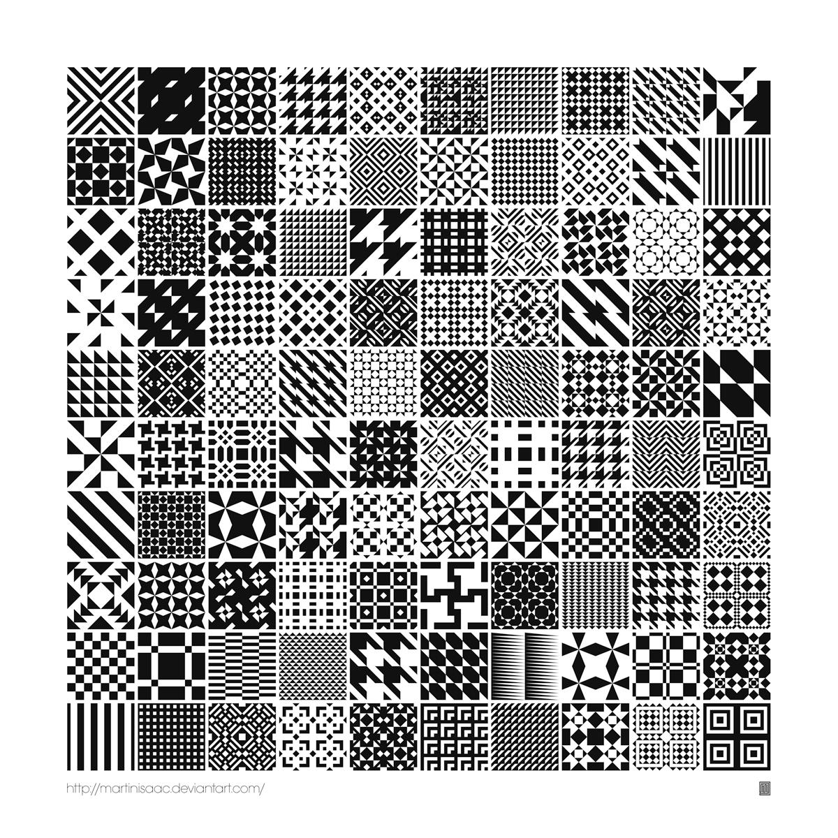 100 Free Monochrome Geometric Patterns by Martin Isaac
