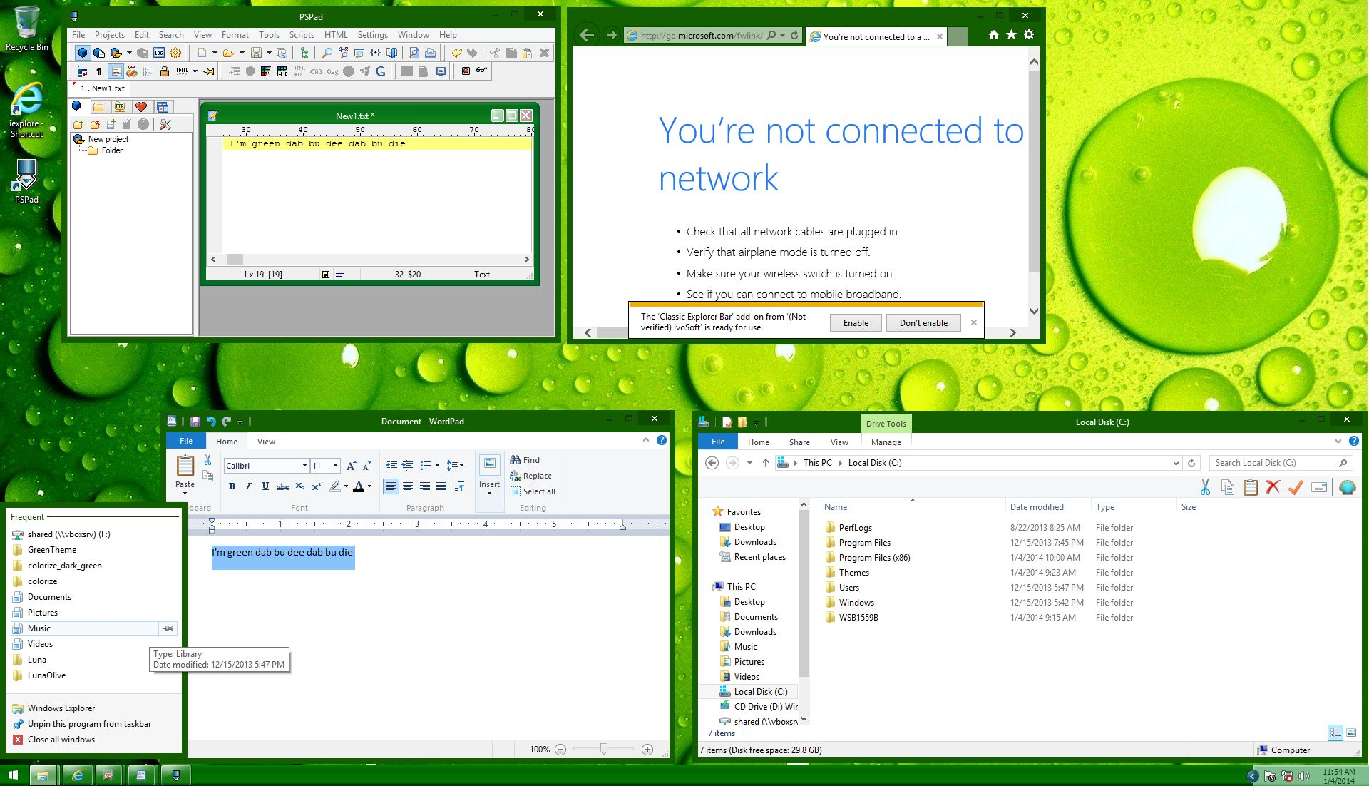 Luna Dark Green Windows 8.1 Theme