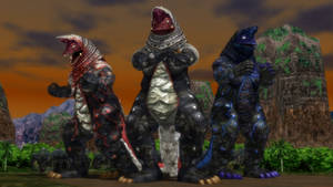 [MMD DL] Ultra Kaiju - Golza + Fire + Gorg Fire by BigJohnnyCool