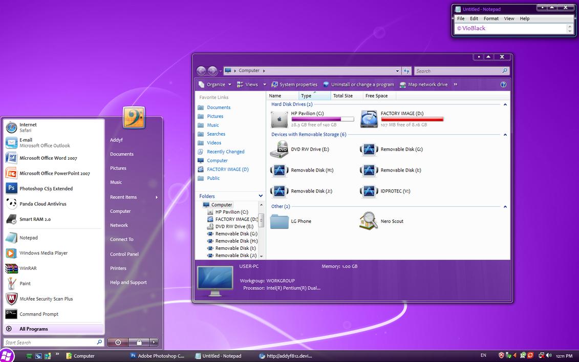 VioBlack theme for Vista by addyf812
