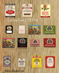 Vintage Wine Labels in PSD by jinifur