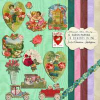 Vintage valentines png clips by jinifur