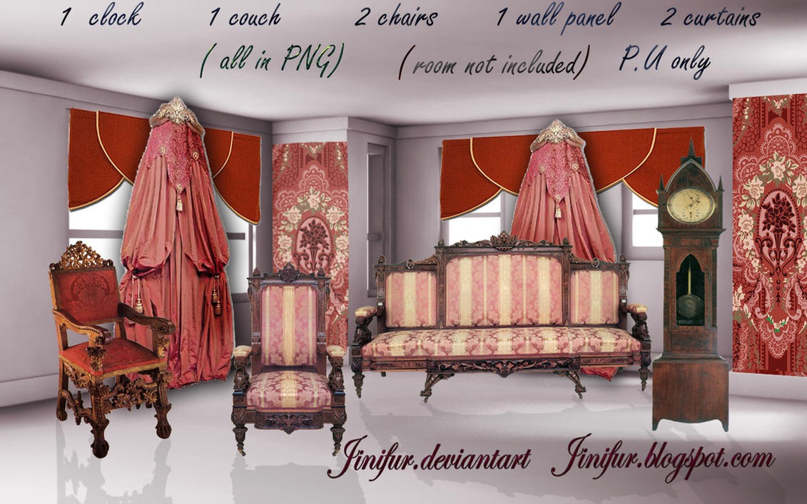 Gothic Revival furniture png by jinifur