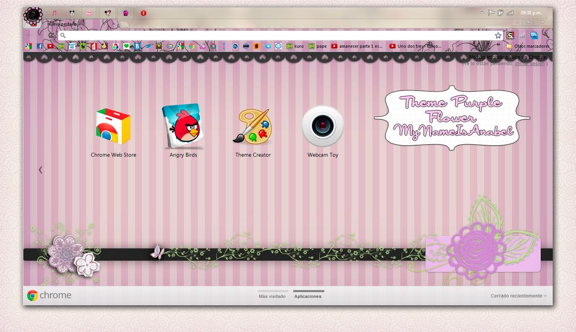 Theme Purple Flower For Google Chrome by MyNameIsAnabel