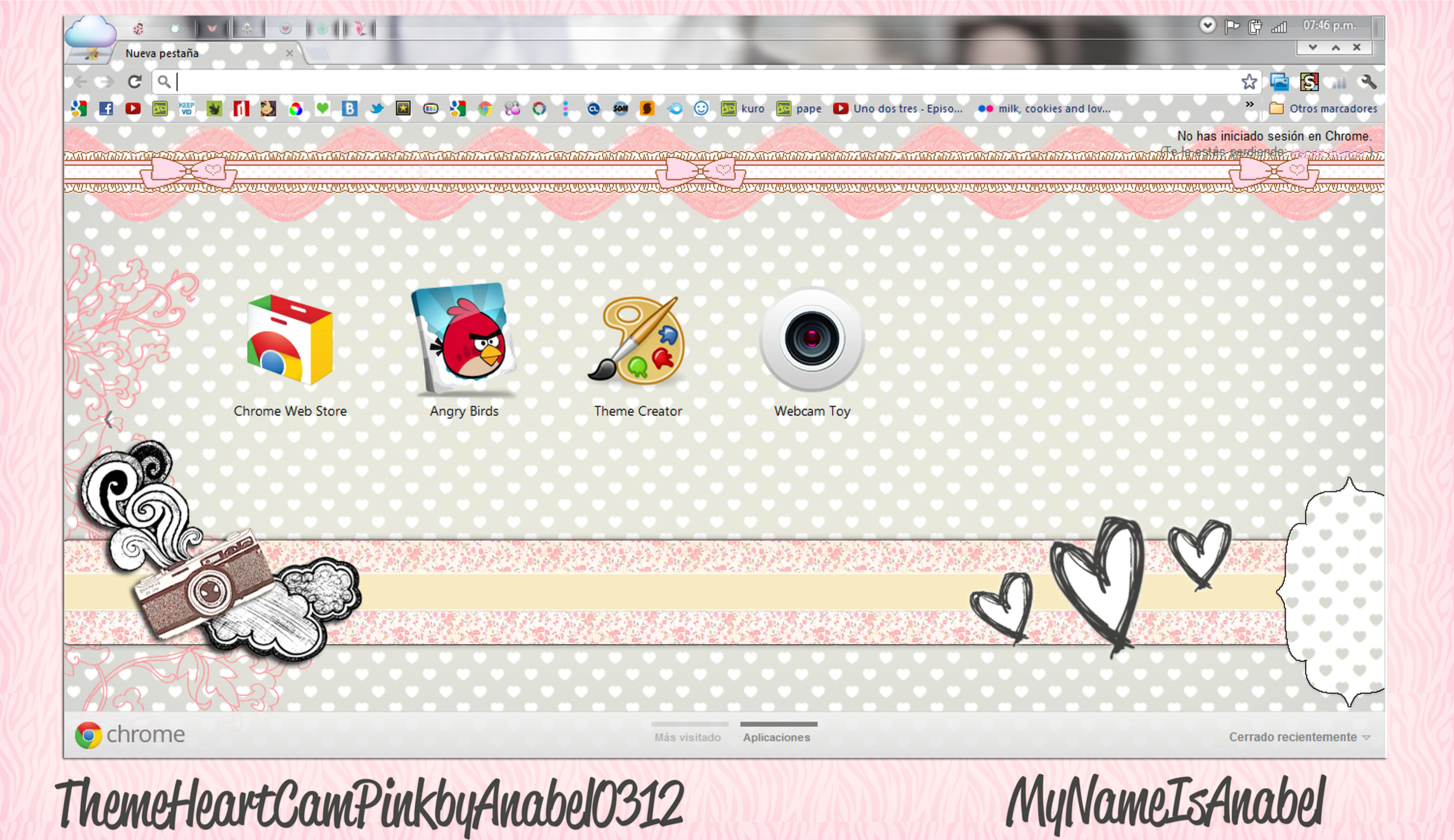 Theme Heart Cam Pink For Google Chrome by MyNameIsAnabel