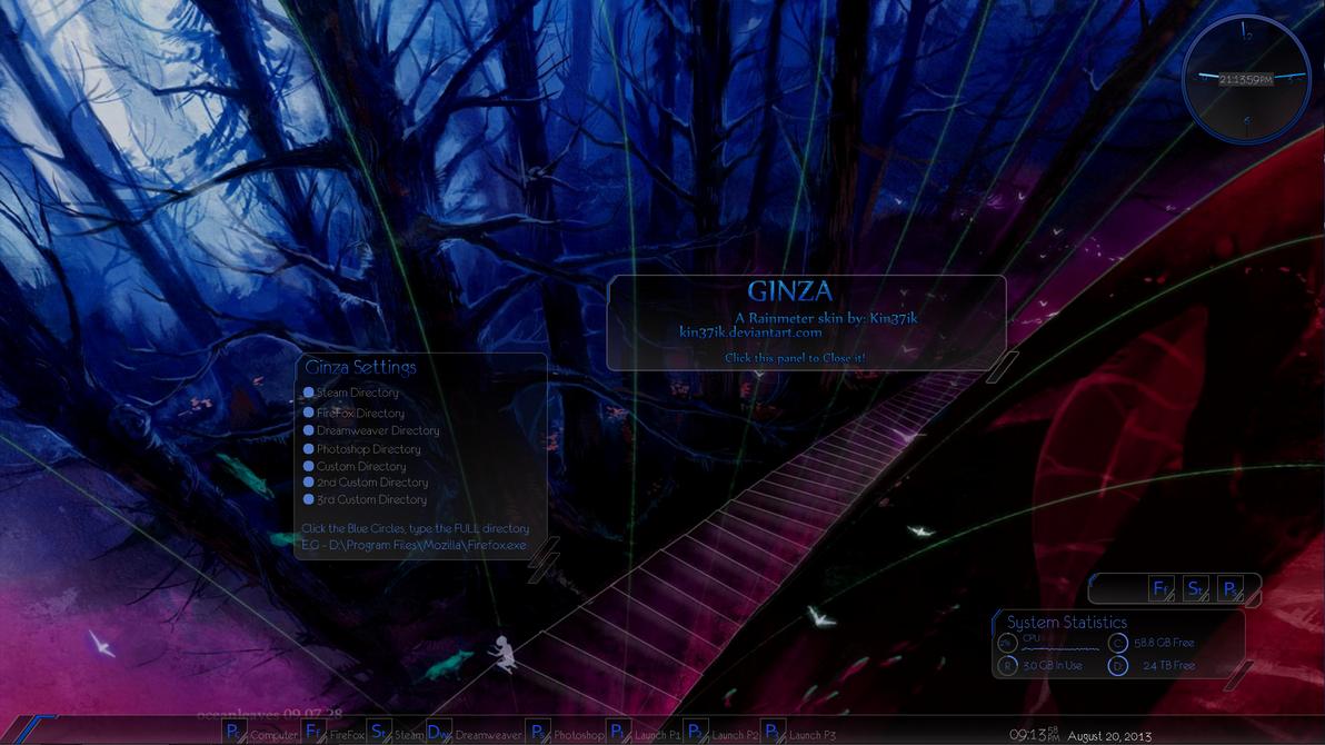 Ginza 1.02 - Rainmeter Skin Update by kin37ik