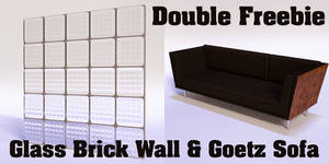 Double Freebie--Glass Brick Wall and Goetz Sofa by Poses17
