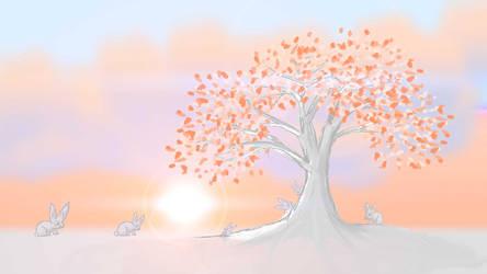 Rabbit Sunset Winter/Autumn Tree by AwakeNight