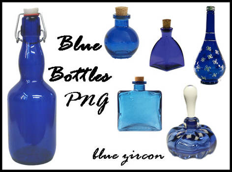 Blue Bottles PNG Stock