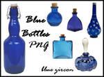 Blue Bottles PNG Stock