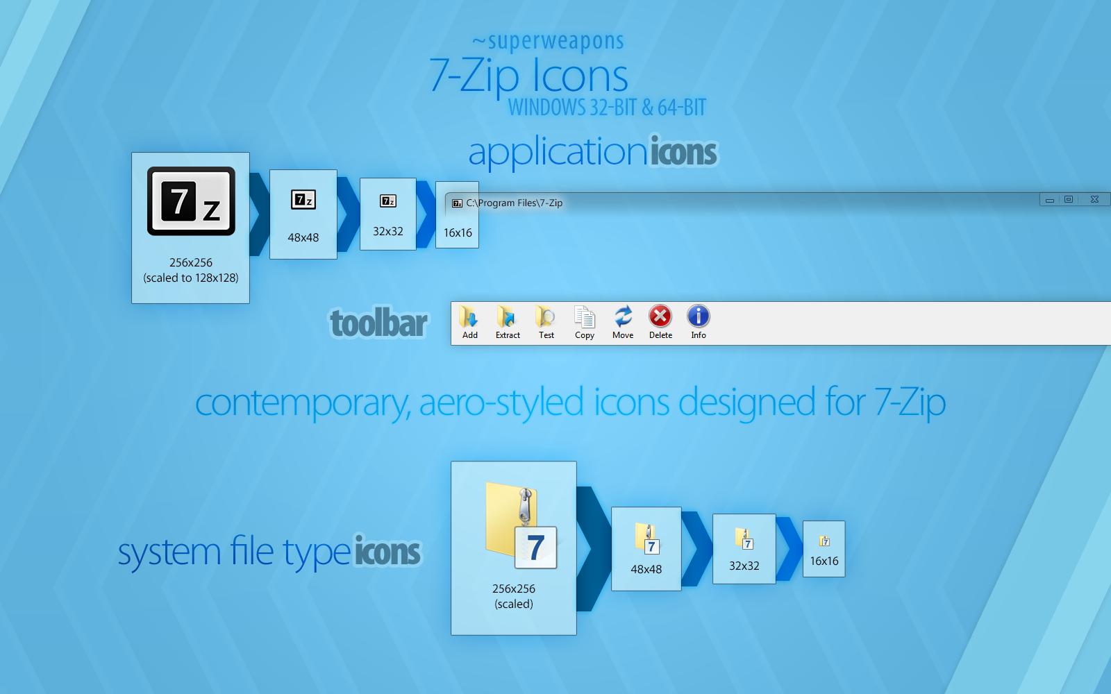 7-Zip 9.32 Icons
