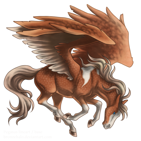 Free lineart: Pegasus by BronzeHalo