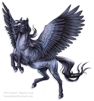 Free lineart: Pegasus Leap by BronzeHalo