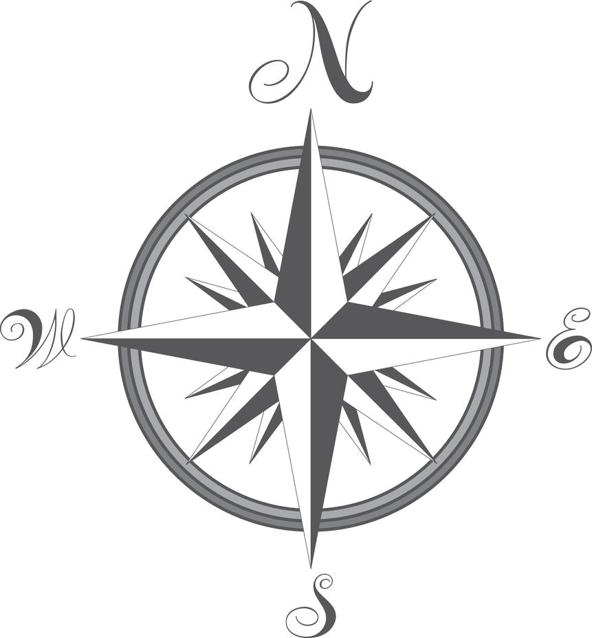 Nautical Clipart Black And White Compass - Vecto...