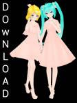 TDA Miku and TDA Rin Bland Download [MMD]