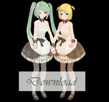 TDA Rin and Miku - Caramel of card DOWNLOAD [MMD] by Yuu2002