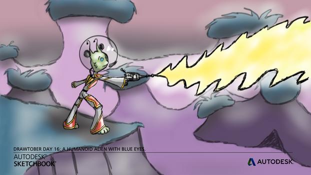 Drawtober 16 - Humanoid Alien w/ Blue Eyes