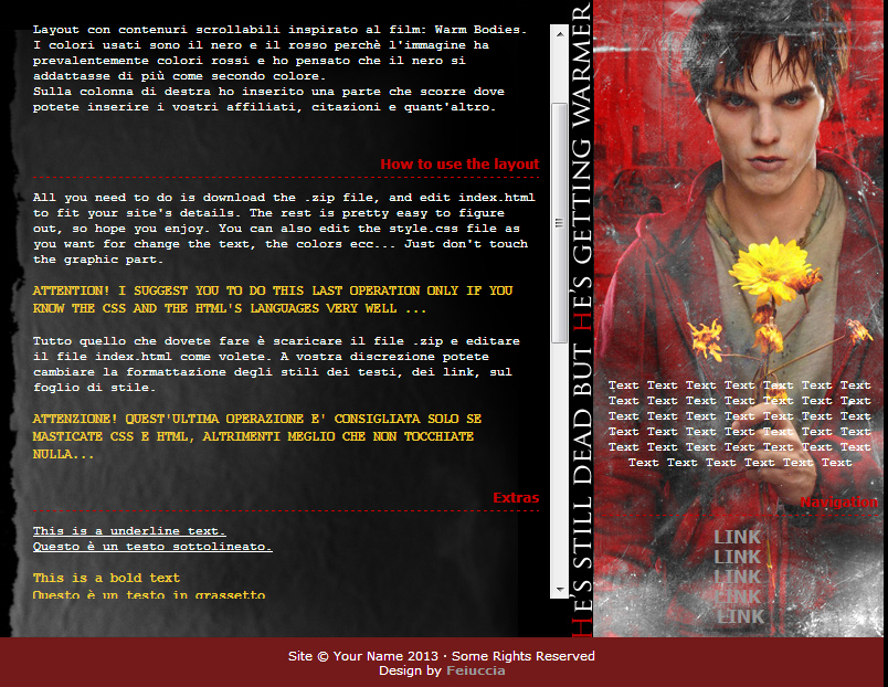 Warm Bodies web layout by Feiuccia