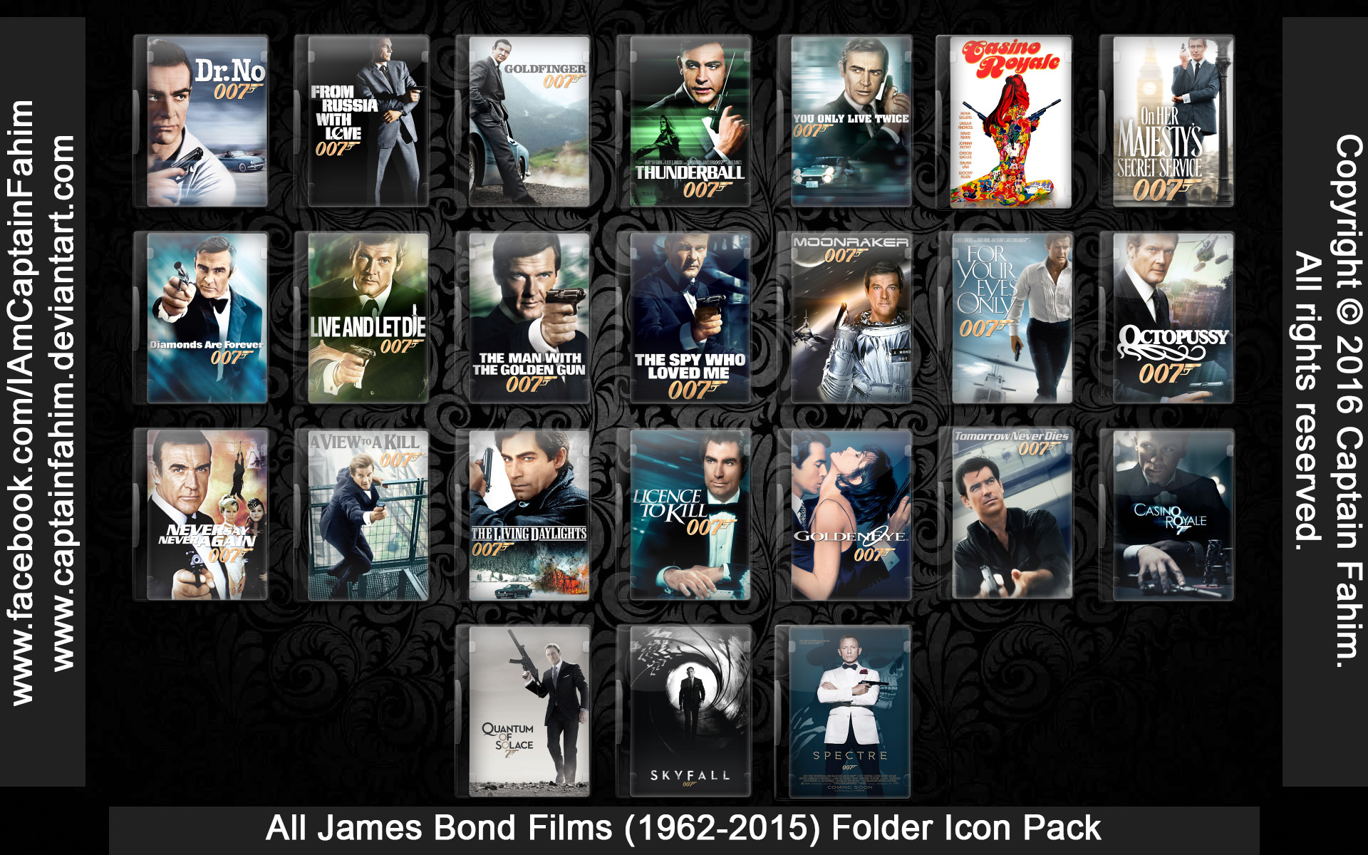 all james bond films 19622015 folder icon by