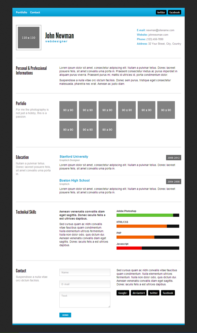 Minimal Html Resume With Free Download By Madazulu On