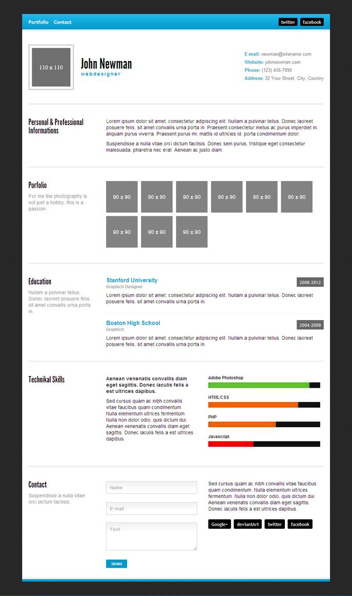 minimal html resume with free downloadmadazulu on