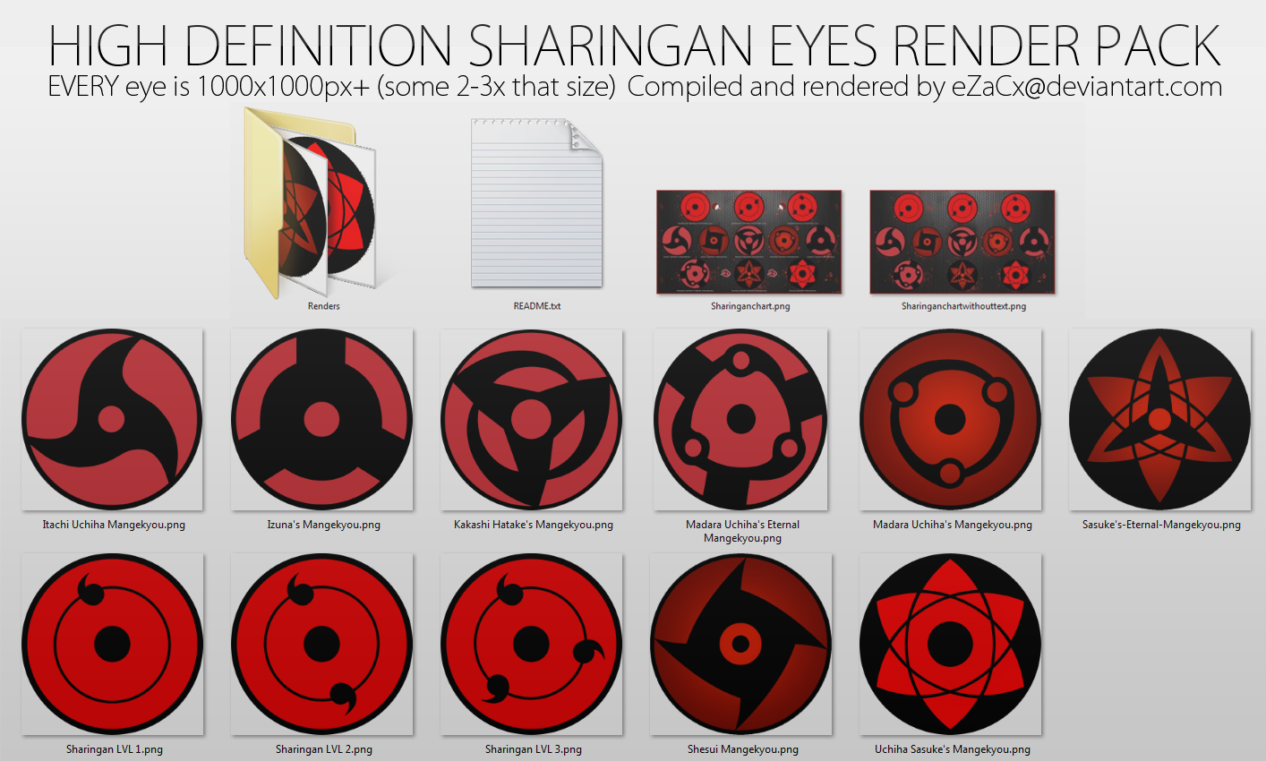 Hd Sharingan Eyes Render Pack By Ezacx On Deviantart