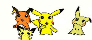 Pokemon Pichu, Pikachu, Raichu and Mimikyu