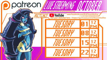 Live Streaming Sketch Calendar October