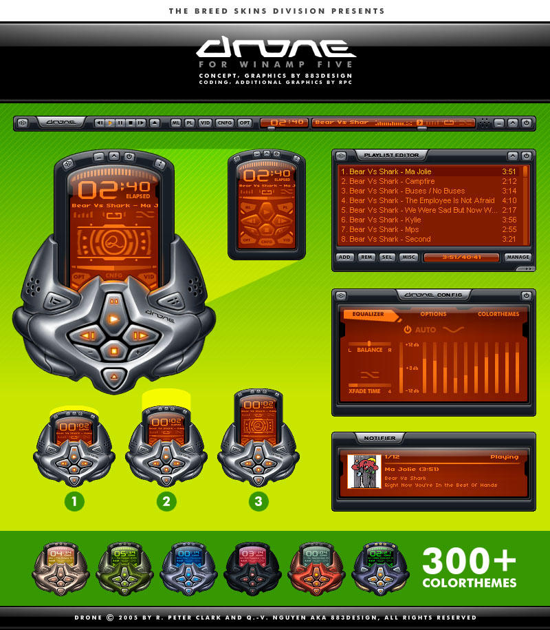 Drone modern WinAmp skin with 300 color themes, notifier and