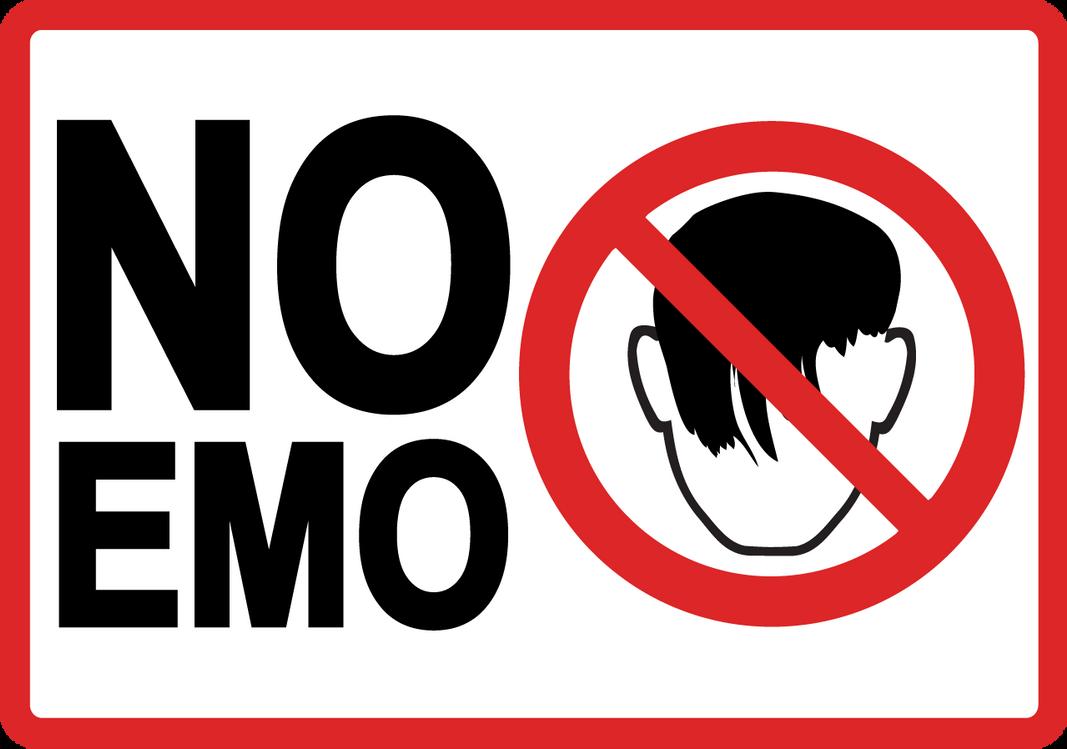 No Emo warning sign by Trelfar