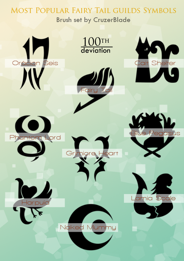 Fairy Tail Guilds Brush Set By Cruzerblade On Deviantart