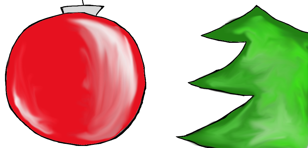 Tree and Red Ornament by Trollan-gurl22