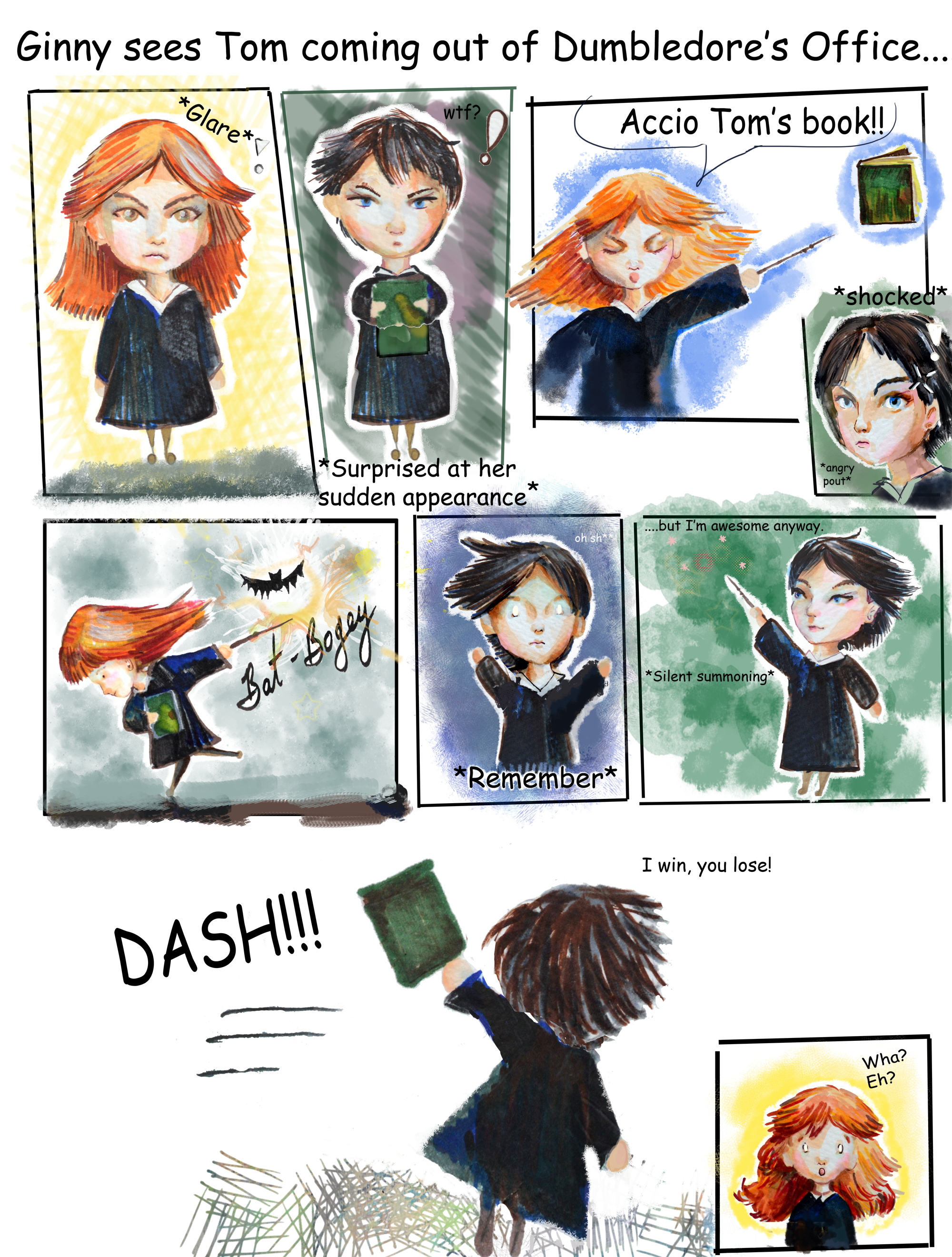 Ginny vs  Tom Riddle: And I hold my breath (comic) by