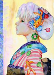 Pop Kimono: Summer Goldfish Kanzashi Girl by smallsmiles