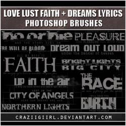Love Lust Faith + Dreams lyric brushes by craziigiirl