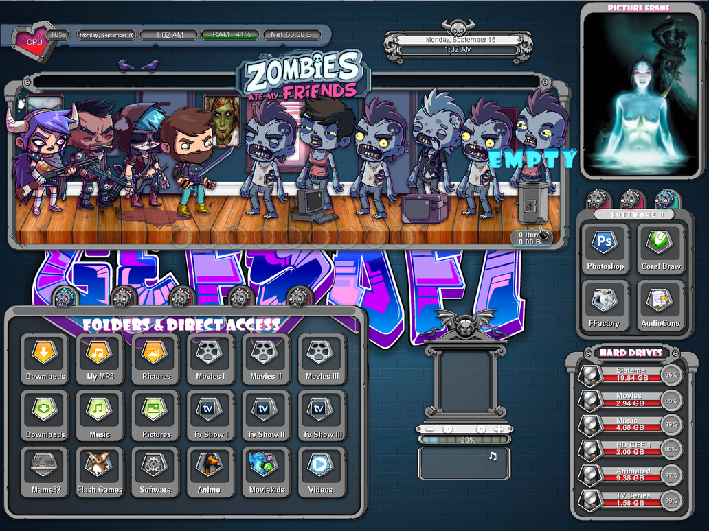 Zombies eat my friends animated rainmeter skin by Gefsoft on DeviantArt
