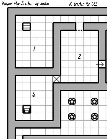Dungeon Map Brushes - Set 1 by muutus