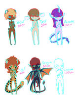 Anthro Adopts :1/6 OPEN: by TargetGirl