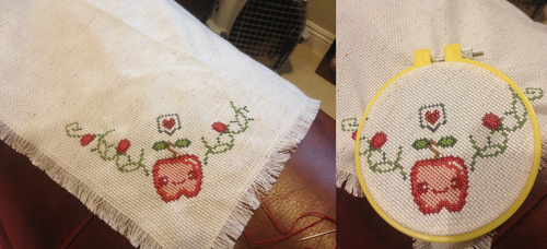 Apple and Berries Breadcloth - before seeds by emietheemerald