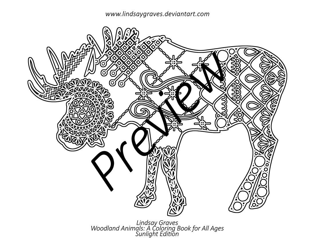 mountainous moose inverted outline coloring page by