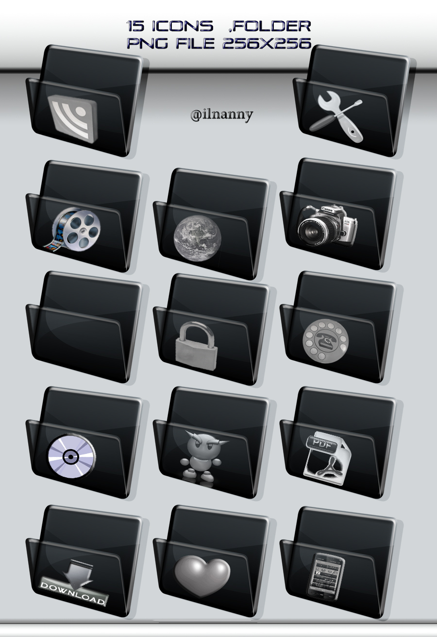 black folder icon-set by ilnanny