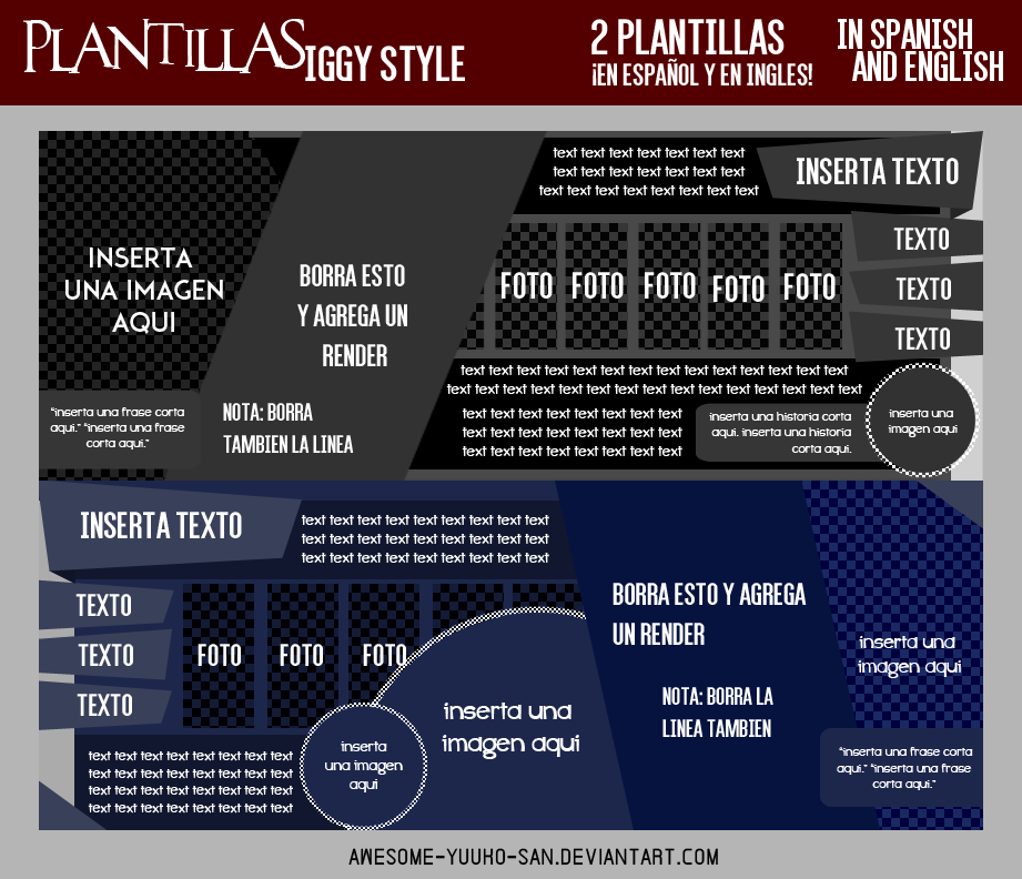 Plantillas Iggy Style #1 [In Spanish and English] by Awesome-Yuuko ...